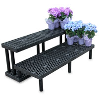 Greenhouse plant bench, 2 step shelf plant bench, greenhouse plant benches